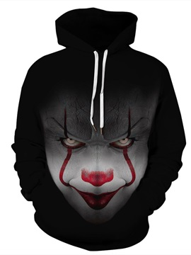 Cool Clown Vibrant Color Pullover Unisex Athletic 3D Painted Hoodie