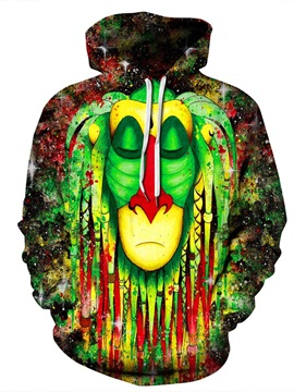 Casual Style Polyester Kangaroo Pocket Athletic 3D Painted Hoodie