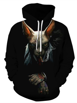 Loose Model Polyester Kangaroo Pocket 3D Painted Hoodie