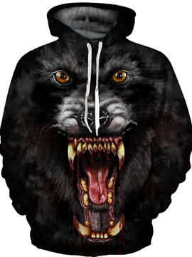 Casual Style Loose Model Polyester Lightweight 3D Painted Hoodie