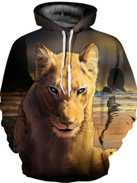 Cool Design Loose Model Pullover Lightweight 3D Painted Hoodie