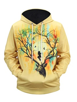 Vivid Color Polyester Pullover Casual Style 3D Painted Hoodie