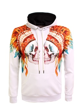 Casual Style Polyester Athletic Kangaroo Pocket 3D Painted Hoodie