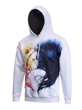 Cool Pattern Pullover Kangaroo Pocket Loose Model 3D Painted Hoodie