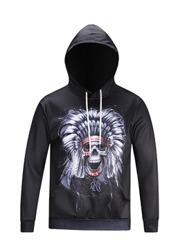 Kangaroo Pocket Pullover Casual Style Vivid Color 3D Painted Hoodie