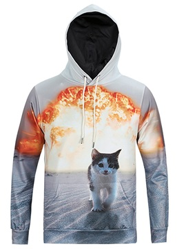 Funny Cat Loose Model Polyester Lightweight 3D Painted Hoodie