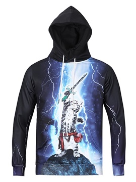 Loose Model Pullover Kangaroo Pocket 3D Painted Hoodie