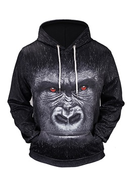 Chimpanzee Loose Model Pullover Kangaroo Pocket 3D Painted Hoodie