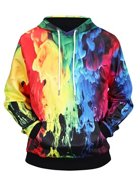 Colorful Pullover Loose Model Fastness Kangaroo Pocket 3D Painted Hoodie