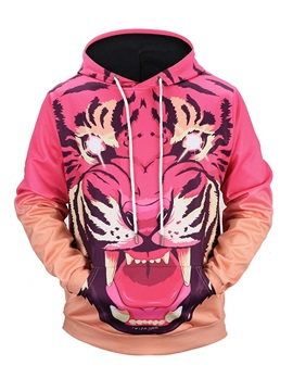 Cool Tiger Loose Model Workout Vibrant Color 3D Painted Hoodie