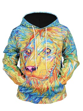 Loose Model Casual Style Pullover Kangaroo Pocket 3D Painted Hoodie