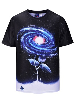 Round Neck Straight Model Polyester Casual Style 3D T-Shirt
