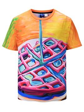 Short Sleeve Round Neck Polyester Straight Model 3D T-Shirt