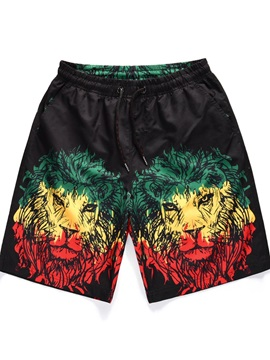 Quick-Dry Casual Style Polyester Inelastic 3D Beach Shorts