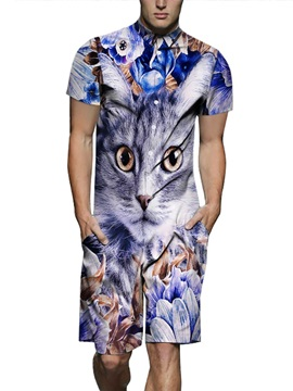 Funny Cat European Style Polyester Round Neck 3D Painted Jumpsuits