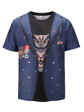 Owl Pattern Straight Model Round Neck 3D Painted T-Shirt