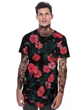 Modern Round Plant Flowers Pattern 3D Painted T-Shirt