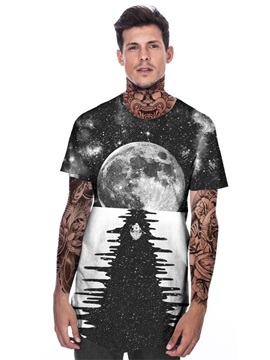 Modern Round Neck Planet Pattern 3D Painted T-Shirt