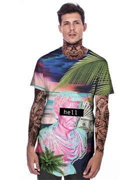 3D Painted Modern Round Neck Color Printing Pattern T-Shirt