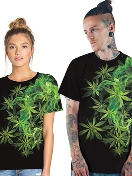 Modern Round Neck Green Mint Leaf Pattern 3D Painted T-Shirt
