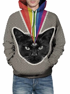 3D Cat Pattern Men Sweater Long Sleeve Cool Hoodies