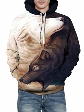 Unique Long Sleeve Wolf Pattern 3D Painted Cool Hoodies
