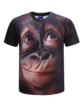 Cute Round Neck Monkey Pattern Casual Short Sleeve 3D Painted T-Shirt