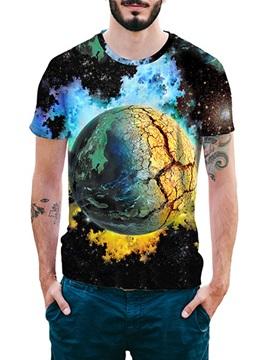 Beddinginn Round Neck Print Fashion Color Block Short Sleeve Men's T-shirt