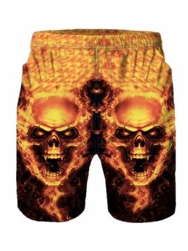Beddinginn Skull Straight Pleated Low Waist Men's Shorts