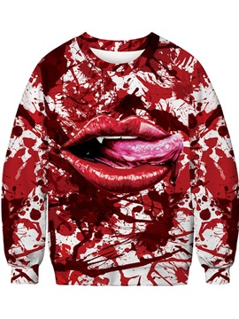 3D Painted Red Mouth Full of Blood Pattern Pullover Loose Men's Hoodies