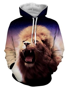 Long Sleeve 3D Lion Face Front Pocket Pullover Thick Casual Men's Hoodies