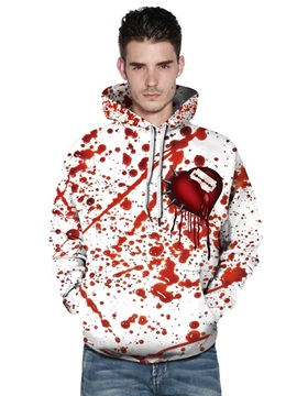 Bleeding Heart Red and White 3D Painted Pullover Thick Fashion Men's Hoodies