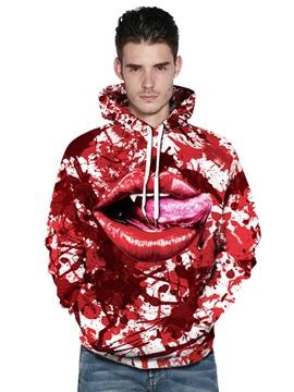 Red Mouth Full of Blood 3D Painted Long Sleeve Thick Fall Men's Hoodies