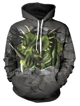 Green Triceratops Printed 3D Animal Gray Hoodies Sweatshirts Pullover