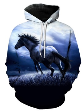3D Horse Print Soft and Warm Long Sleeve Pullover Hoodies Sweatshirt Sweaters