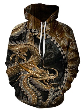 Garment Dyed 3D Dragon Print Loose Men's Pullover Hoodies 95% Polyester 4% Spandex Comfortable Soft Breathable and Durable Fabric