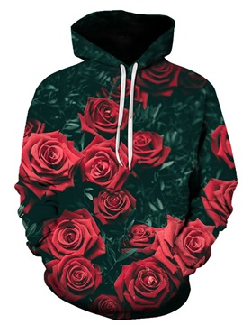 3D Printed Red Roses Women's Hoodie Men's Hoodie Couple Outfit Creative Unisex Pullover Hoodies Fashion Long Sleeve Sweatshirt Sportswear Suitable for Valentine's Day