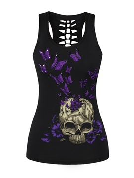 Purple Butterfly and Skull Heads Printing Polyester Female 3D Tops