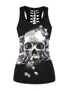 Black Skull Head with Purple Rose Printing Sports Female 3D Tops