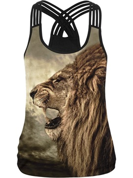 Lion Roar Face 3D Pattern Round Neck Sleeveless Vest Tank Top