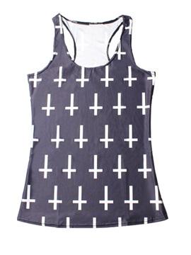 Vest Hot Women 3D Cross Printing Sleeveless Fashion Funny Tank Top