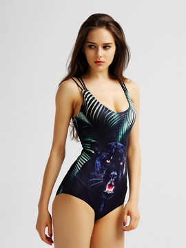 Female Black Panther Pattern Free Wire and Cross Halter 3D Monokini