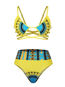 Push up Sexy Indian Bikini Yellow Cool 3D Bathing Suit Swimwuits