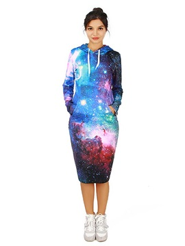 Elegant Long Sleeve Starry Sky Pattern 3D Painted Hoodie Dress