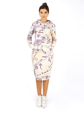 Unique Long Sleeve Map Pattern 3D Painted Hoodie Dress