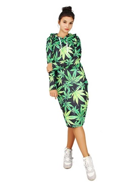 Concise Long Sleeve Leaves Pattern 3D Painted Hoodie Dress