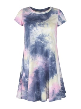 Stunning Short Sleeve Round Neck Loose Casual Print Design Dress