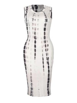 Charming Sleeveless Round Neck Printed Bodycon Dress