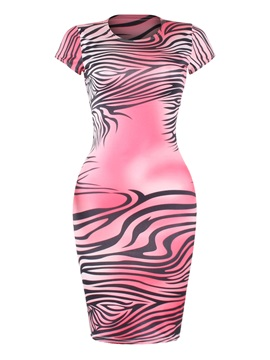 Concise Short Sleeve Round Neck Stripe Design Pink Bodycon Dress