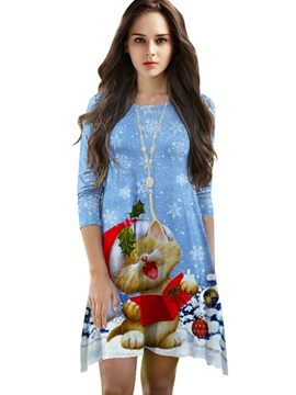 Lovely Loose Casual Christmas Cat Pattern 3D Painted Shift Dress